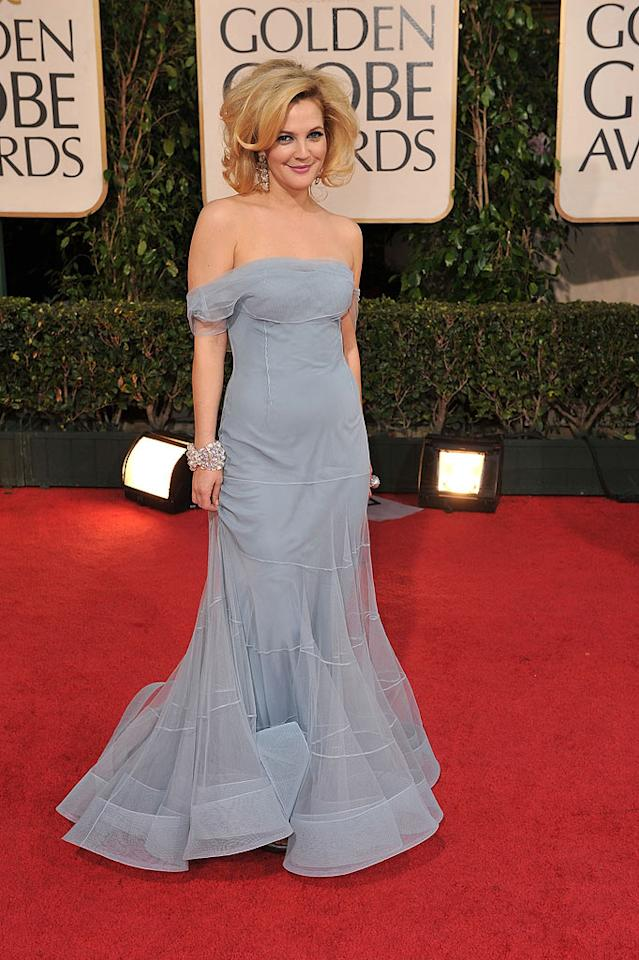 """Drew Barrymore channeled an old-time Hollywood starlet in her dusty-blue fallen-shoulder dress by Dior. Steve Granitz/<a href=""""http://www.wireimage.com"""" target=""""new"""">WireImage.com</a> - January 11, 2009"""