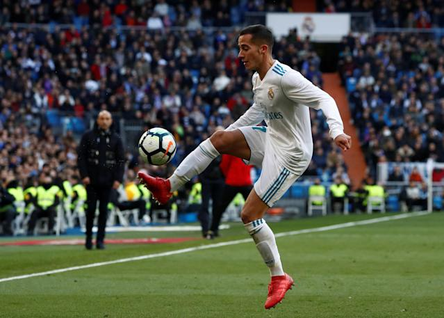 Soccer Football - La Liga Santander - Real Madrid vs Deportivo Alaves - Santiago Bernabeu, Madrid, Spain - February 24, 2018 Real Madrid's Lucas Vazquez in action REUTERS/Juan Medina