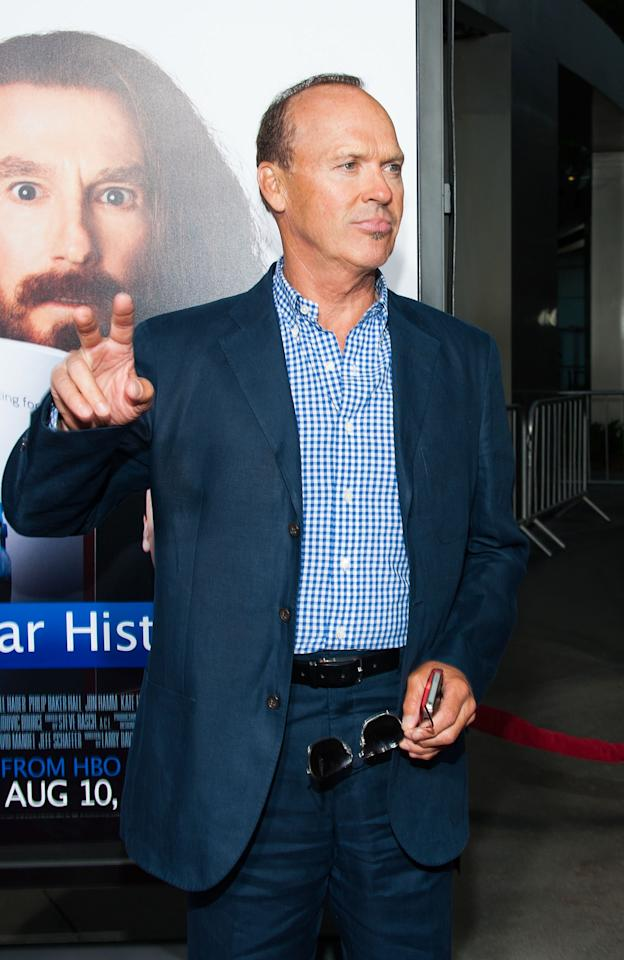 "HOLLYWOOD, CA - JULY 31: Michael Keaton arrives at the Premiere Of HBO Films' ""Clear History"" at ArcLight Cinemas Cinerama Dome on July 31, 2013 in Hollywood, California. (Photo by Valerie Macon/Getty Images)"