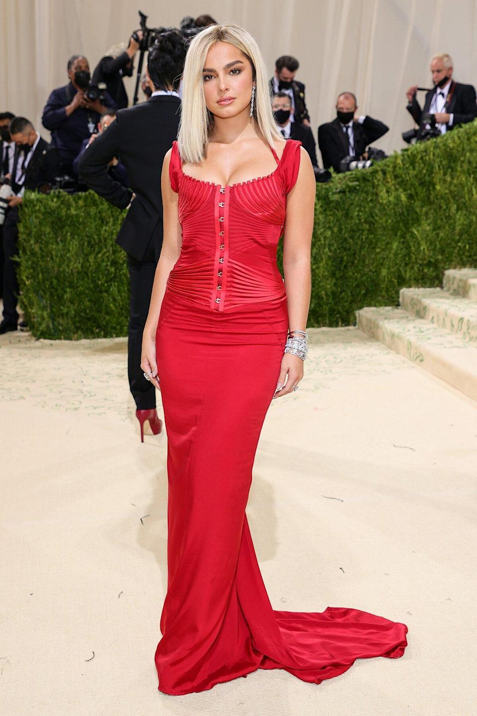 Addison Rae attends The 2021 Met Gala Celebrating In America: A Lexicon Of Fashion at Metropolitan Museum of Art on September 13, 2021 in New York City.