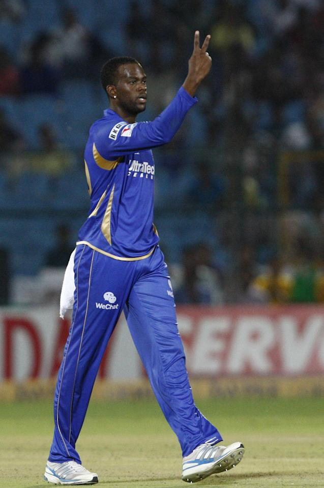 K Cooper of Rajasthan Royals after fall of a wicket during CLT20 match between Rajasthan Royals and Otago Volts at Sawai Mansingh Stadium in Jaipur on Oct. 1, 2013. (Photo: IANS)