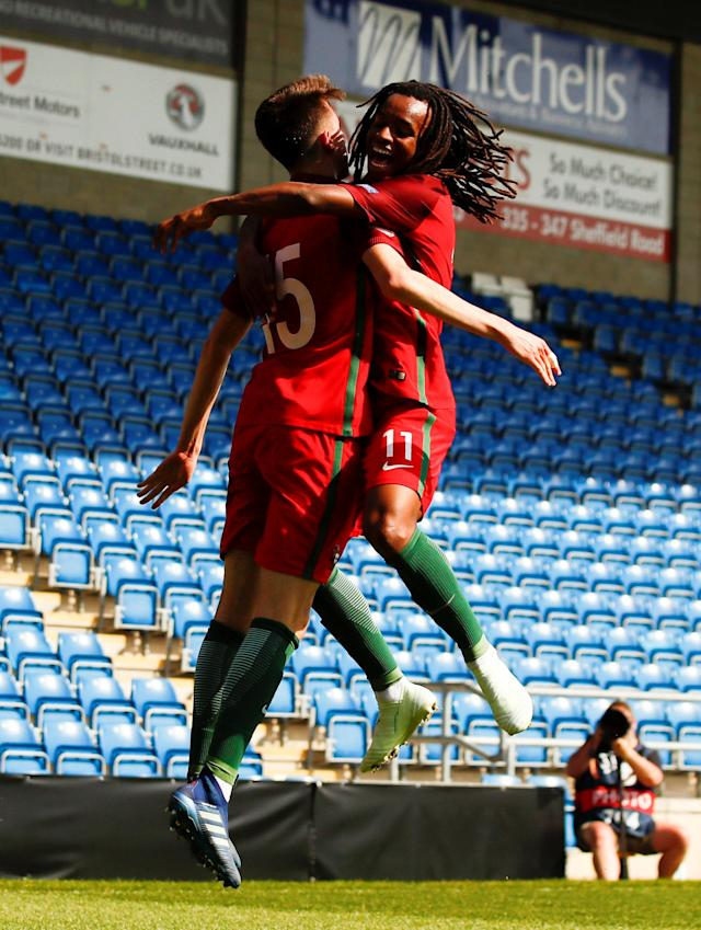 Soccer Football - UEFA European Under-17 Championship - Group B - Slovenia v Portugal - Proact Stadium, Chesterfield, Britain - May 7, 2018 Portugal's Bernardo Silva celebrates with Jair Tavares after scoring their second goal Action Images via Reuters/Jason Cairnduff
