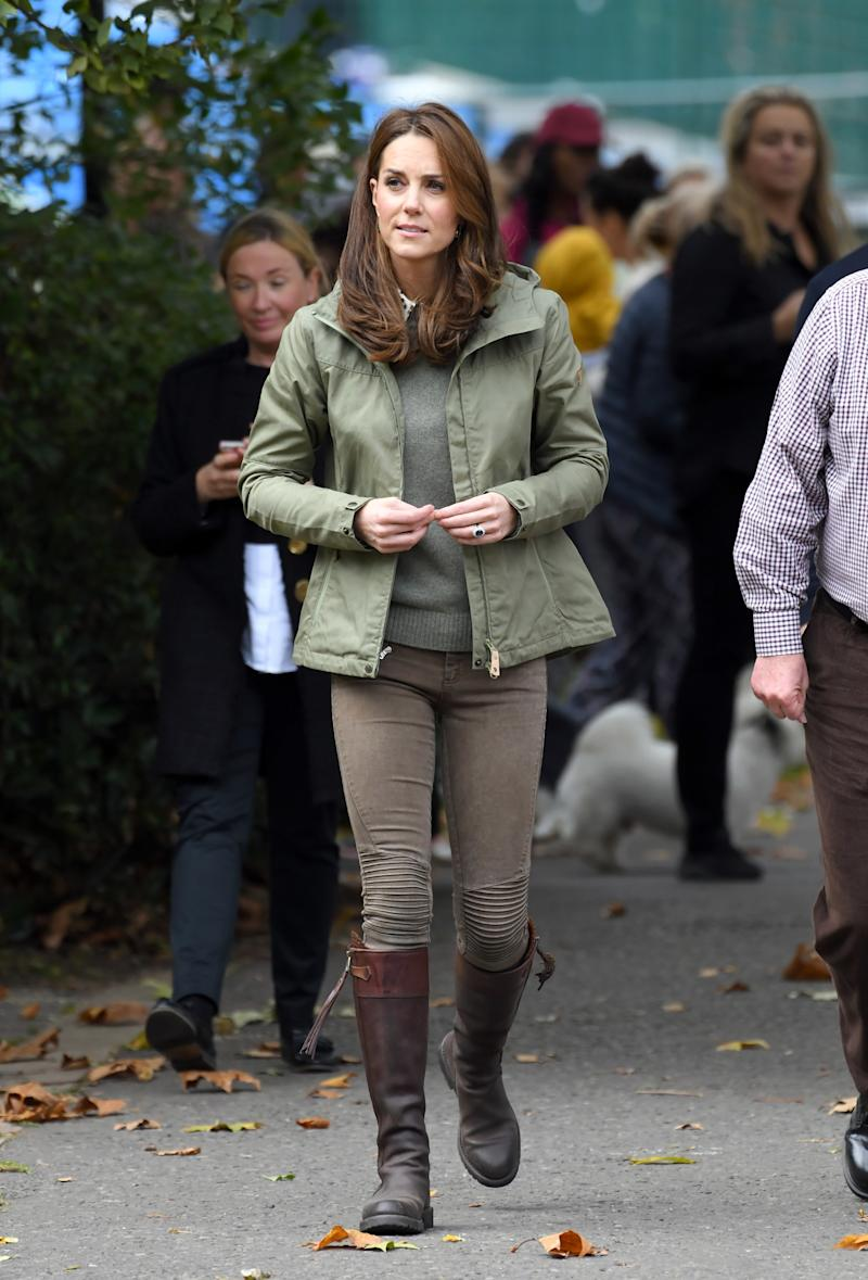 The Duchess Of Cambridge visits Sayers Croft Forest School and Wildlife Garden on Oct. 2, 2018 in London. (Karwai Tang via Getty Images)