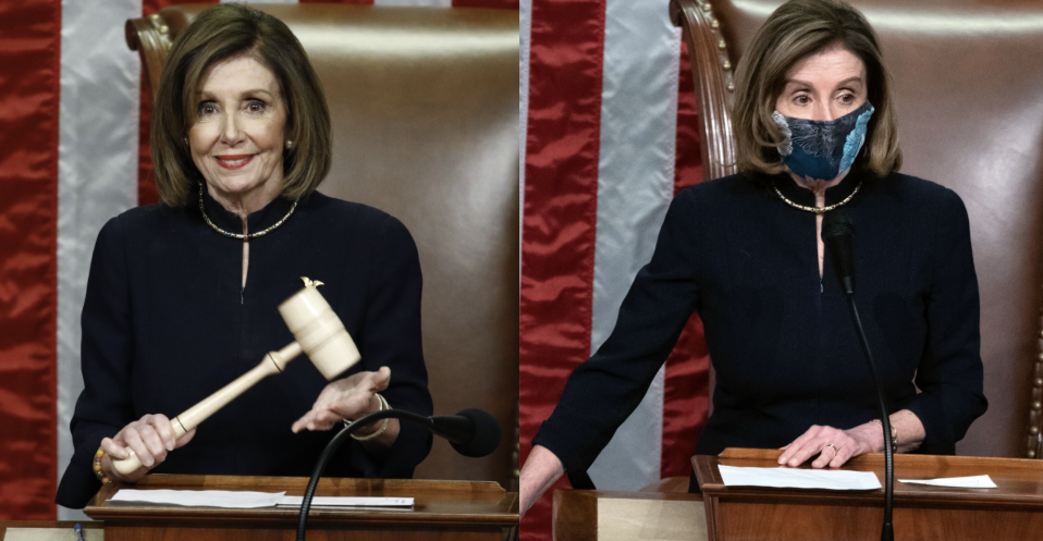 Nancy Pelosi wore the same dark suit to begin impeachment proceedings against President Trump in both Dec. 2019 and Jan. 2021.(Images via Getty Images)