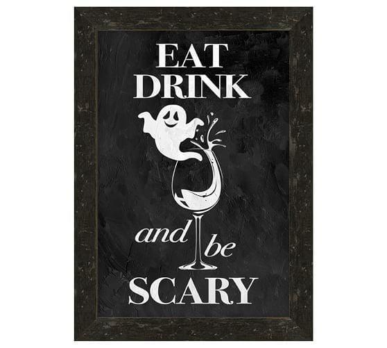 <p>This <span>Eat Drink and Be Scary</span> ($99) wall sign would look cute over a bar.</p>