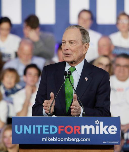 Presidential candidate, and former New York mayor Michael Bloomberg speaks to Jewish voters on Sunday, Jan. 26, 2020 at Aventura Turnberry Jewish Center in Aventura, Fla. (Andrew Uloza/Miami Herald via AP)