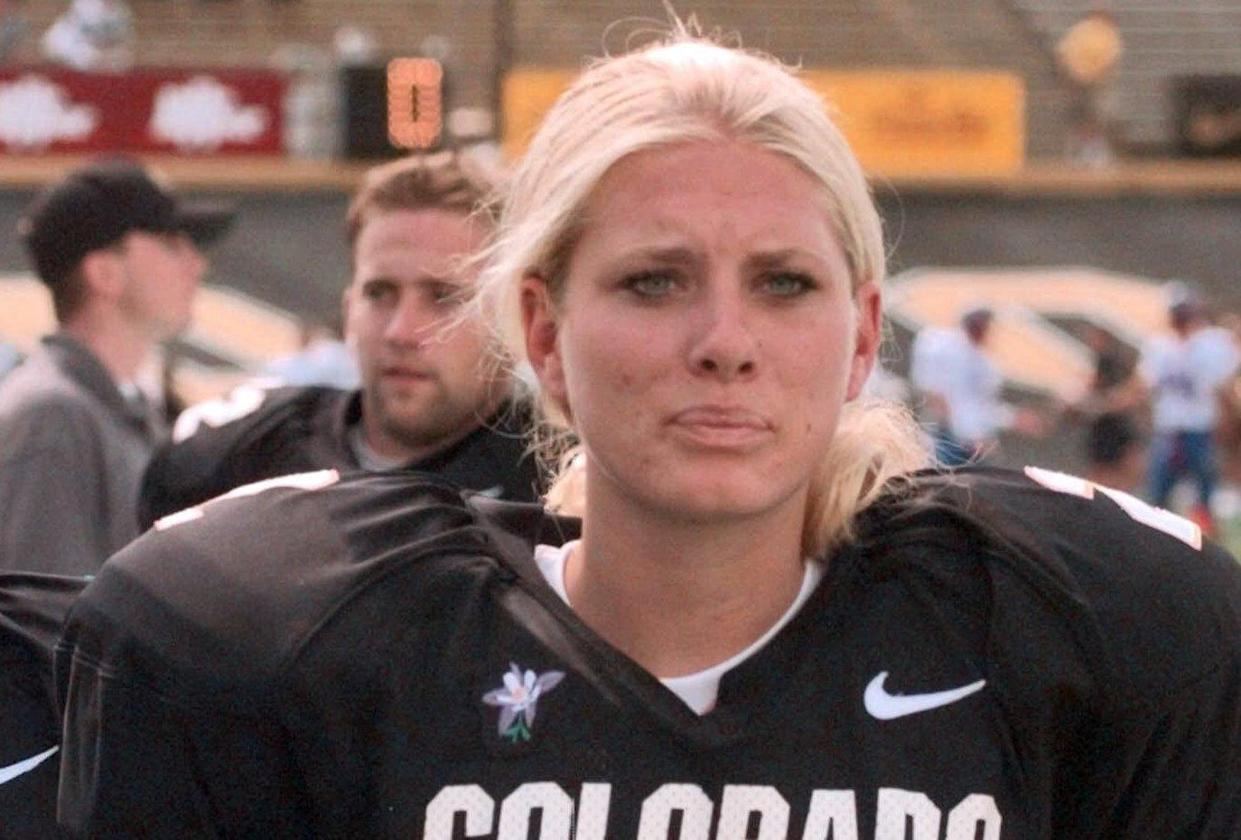 Katie Hnida, who broke barriers in college football as the first woman to score points in Division I-A. (AP Photo/Ed Andrieski)