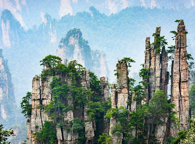 <p>This national park in China's Hunan province was used as a model for the setting of the movie <em>Avatar.</em> It features dozens of pillar-like mountains reaching toward the sky.</p>