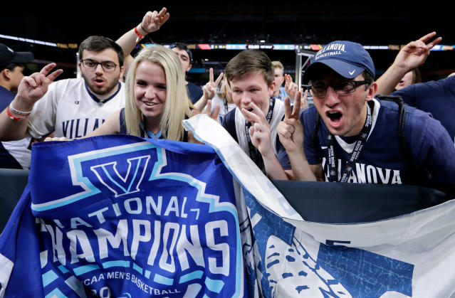 Villanova fans cheer before the championship game against Michigan in the Final Four NCAA college basketball tournament, Monday, April 2, 2018, in San Antonio. (AP Photo/David J. Phillip)