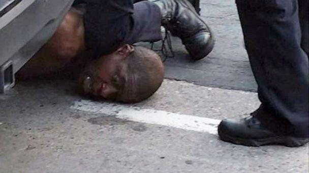 PHOTO: In an image made from video posted to Facebook, a Minneapolis police officer kneels on the neck of a man identified by a family attorney as George Floyd, May 25, 2020. Floyd died shortly after the incident. (Darnella Frazier via Storyful)