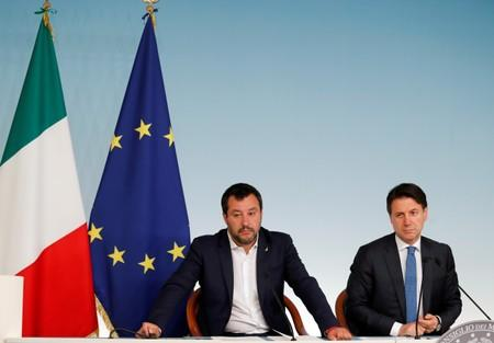 FILE PHOTO: Italian PM Conte and Deputy PMs di Maio and Salvini hold a joint news conference in Rome