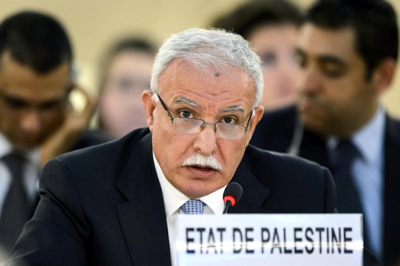 Palestinian Foreign Minister Riyad al-Maliki delivers a speech during an emergency session of the United Nations Human Rights Council in Geneva, on July 23, 2014 (AFP Photo/Fabrice Coffrini)