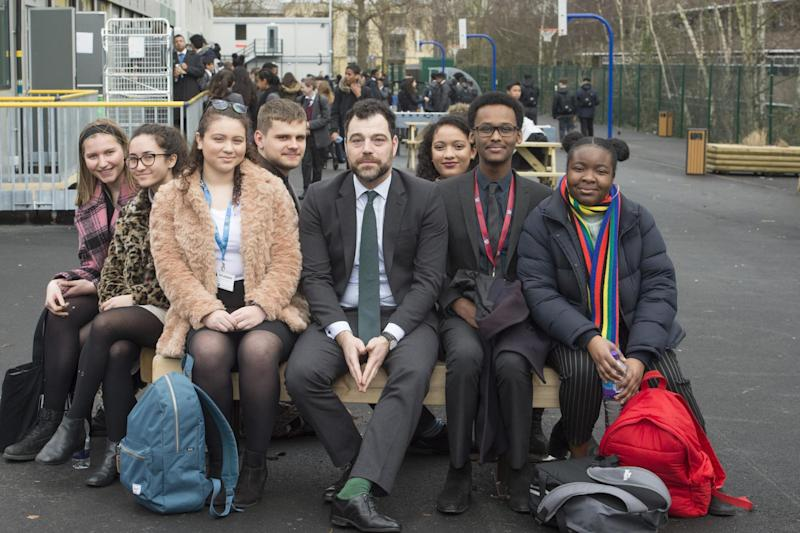 'Our strong community': Kensington Aldridge Academy head David Benson, centre, with students, from left, Eugenie Bakker, Jade Makepeace, Rebecca Cabrera, Daniel Glinka, Elineth Hernandez, Abdullahi Ali and Titilayo Bamgbose: Jeremy Selwyn