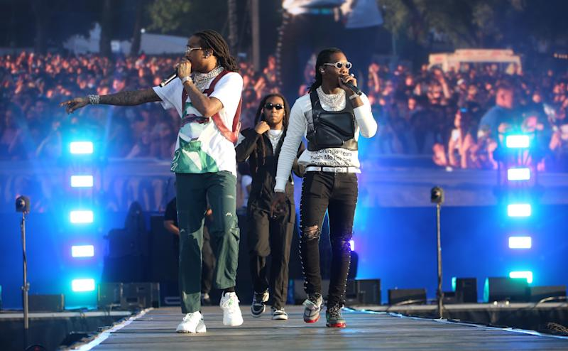 Takeoff, Quavo and Offset from Migos perform on stage on Day 1 of Wireless Festival held at Finsbury Park, London. (Photo by Isabel Infantes/PA Images via Getty Images)