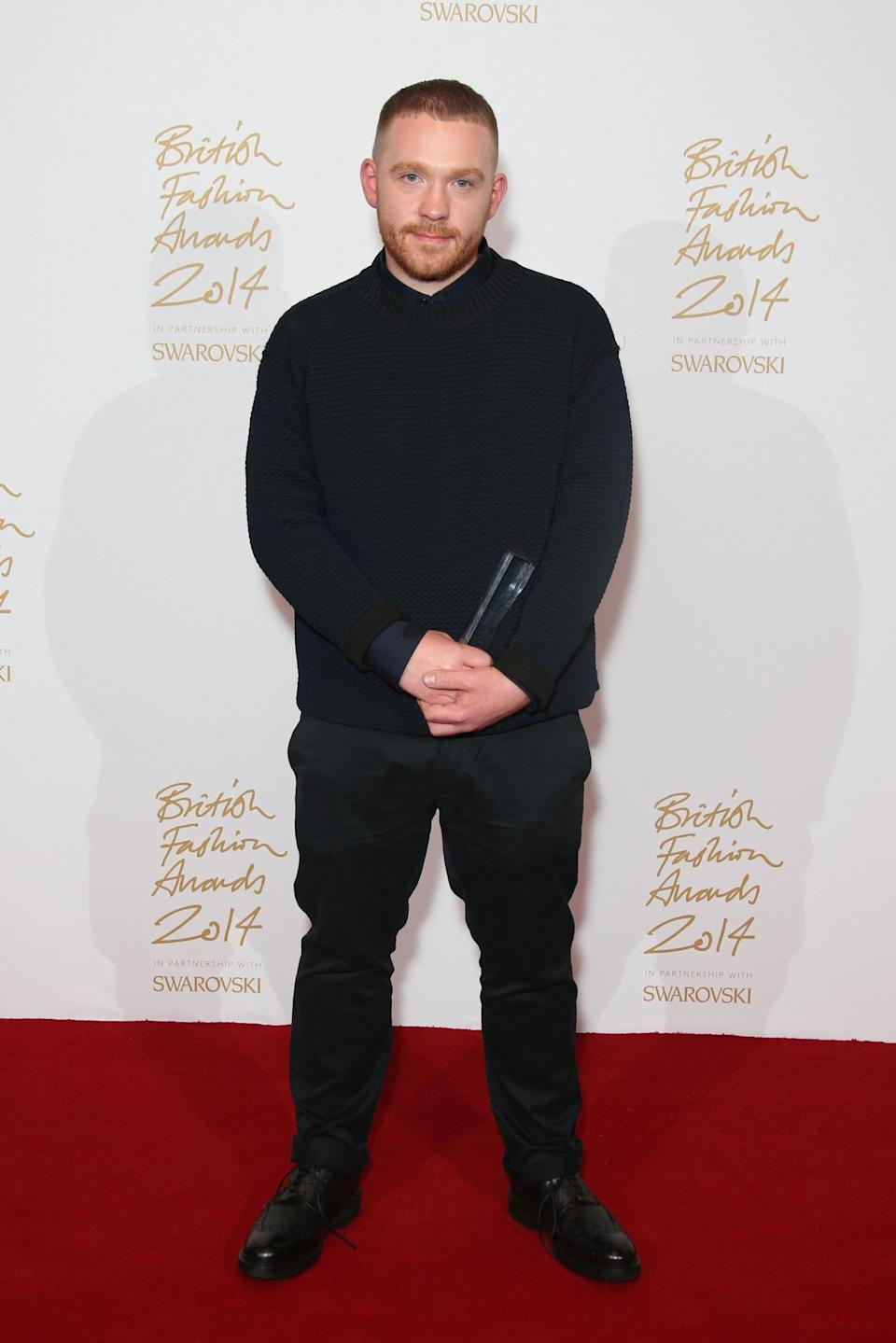 The newbie on the fashion scene was given the Emerging Menswear Designer award at the BFAs at the London Coliseum.