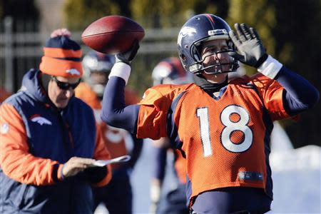 Denver Broncos offensive coordinator Adam Gase (L) checks his clipboard as quarterback Peyton Manning (18) throws a pass during their practice session for the Super Bowl at the New York Jets Training Center in Florham Park, New Jersey, January 29, 2014. REUTERS/Ray Stubblebine