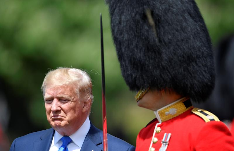 U.S. President Donald Trump inspects an honor guard at Buckingham Palace, in London, Britain, June 3, 2019. (Photo: Toby Melville/Pool/Reuters)