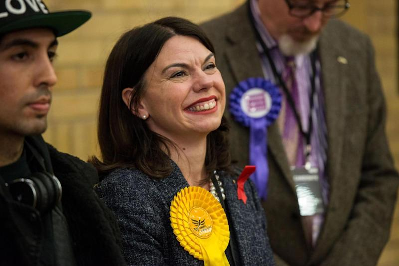 Victorious: Liberal Democrat candidate Sarah Olney reacts whilst being announced as the winner of the Richmond Park by-election (Getty Images)