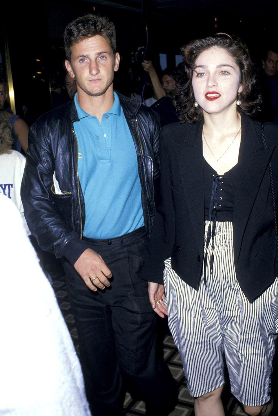 """<p>Before Sean Penn dated Charlize Theron or Madonna's marriage to Guy Ritchie, the Hollywood bad boy and """"Like a Virgin"""" singer were the """"it"""" couple of the '80s. They tied the knot in an elaborate Malibu beach ceremony in 1985 and were married for four years before calling it quits. </p>"""