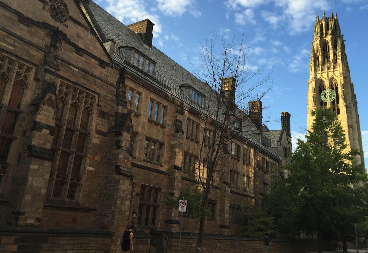 FILE - This Sept. 9, 2016 photo shows Harkness Tower on the campus of Yale University in New Haven, Conn. (AP Photo/Beth J. Harpaz)