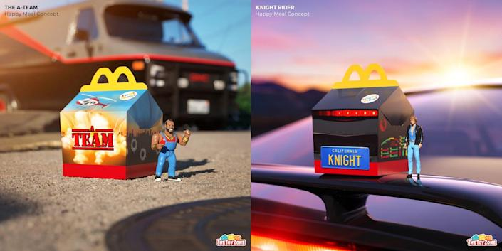 Fake Happy Meal boxes and toys for The A-Team and Knight Rider