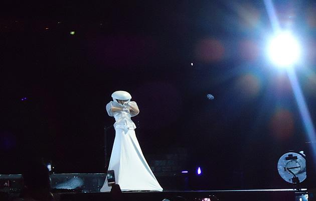 Lady Gaga in another one of her stormtrooper esque helmets and tent dresses (Photo courtesy of Lin Wanqing)