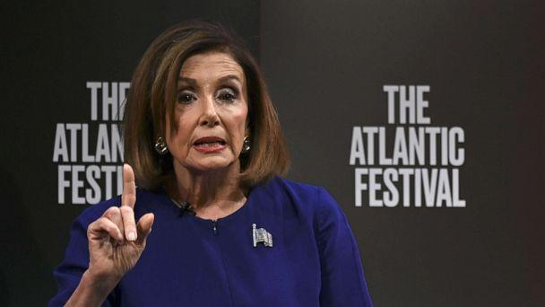 PHOTO: Nancy Pelosi speaks during an event at the Atlantic Festival in Washington, D.C. on September 24, 2019. (Andrew Caballero-Reynolds/AFP/Getty Images)