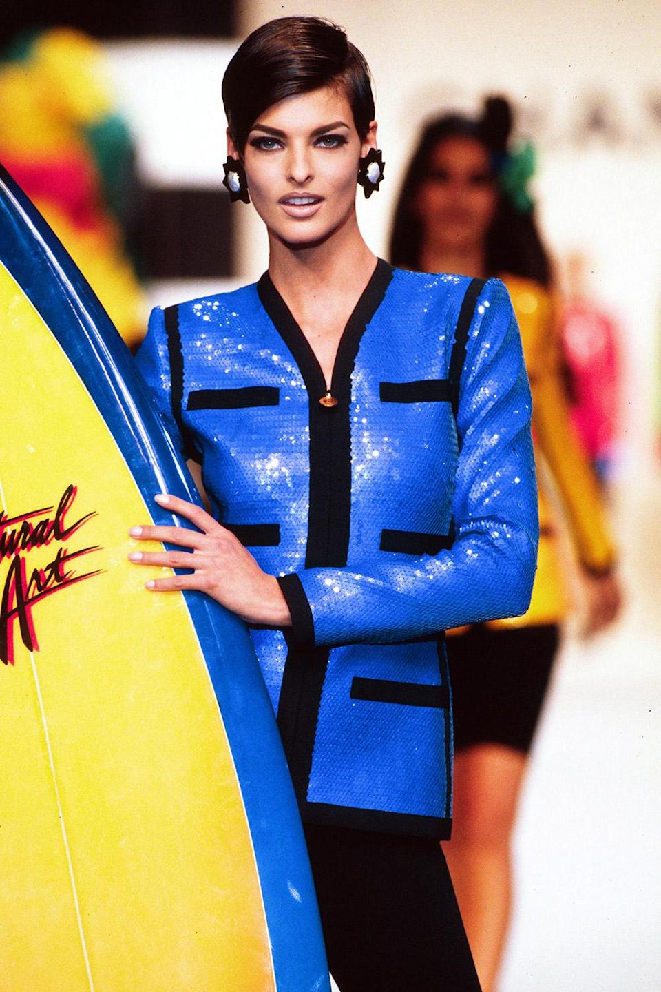 <p>Ready to catch a wave during the 1990 Chanel show in Paris.</p>