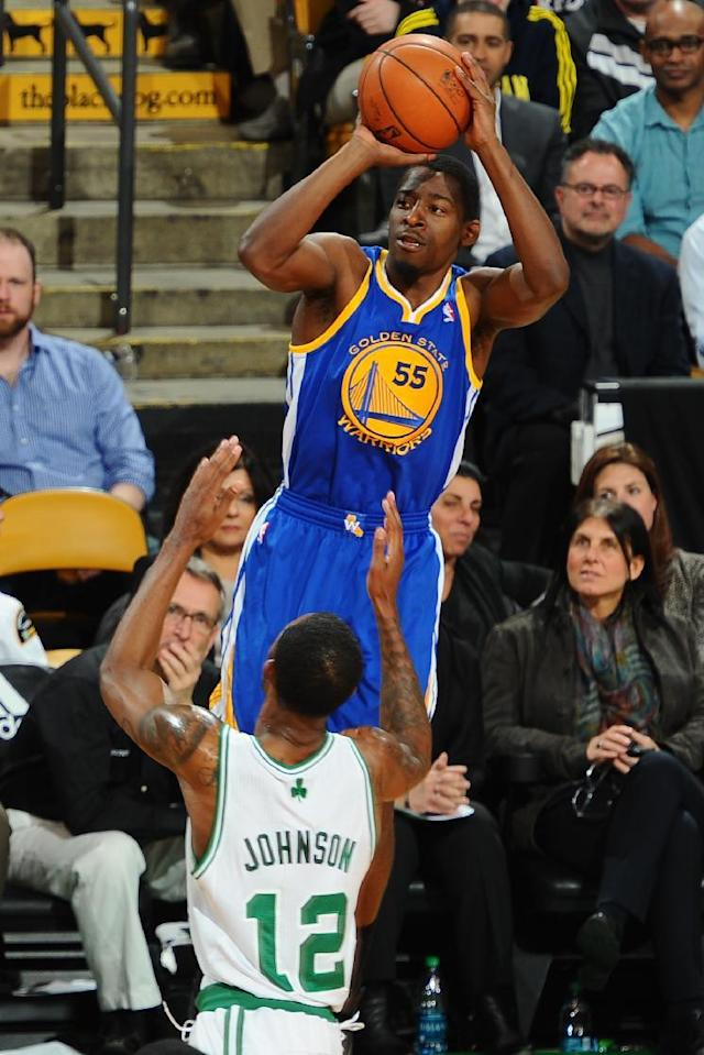 BOSTON, MA - MARCH 5: Jordan Crawford #55 of the Golden State Warriors shoots the ball against Chris Johnson #12 of the Boston Celtics on March 5, 2014 at the TD Garden in Boston, Massachusetts. (Photo by Brian Babineau/NBAE via Getty Images)
