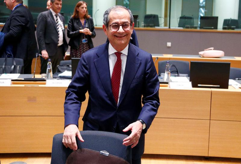 FILE PHOTO: Italian Finance Minister Giovanni Tria attends a euro zone finance ministers meeting in Brussels