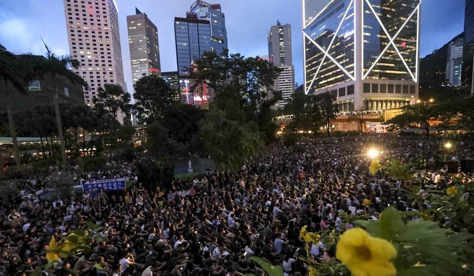 Civil servants attend a mass protest in Central last year. Photo: Felix Wong