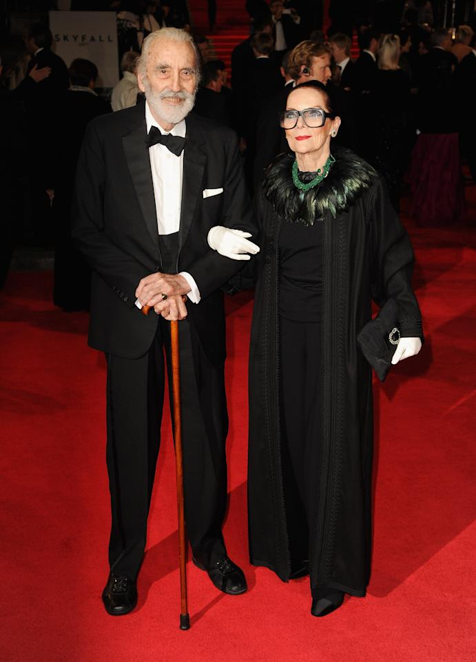 LONDON, ENGLAND - OCTOBER 23: Sir Christopher Lee and wife Gitte Lee attend the Royal World Premiere of 'Skyfall' at the Royal Albert Hall on October 23, 2012 in London, England.  (Photo by Eamonn McCormack/Getty Images)