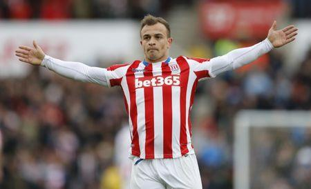 Stoke City's Xherdan Shaqiri celebrates scoring their third goal