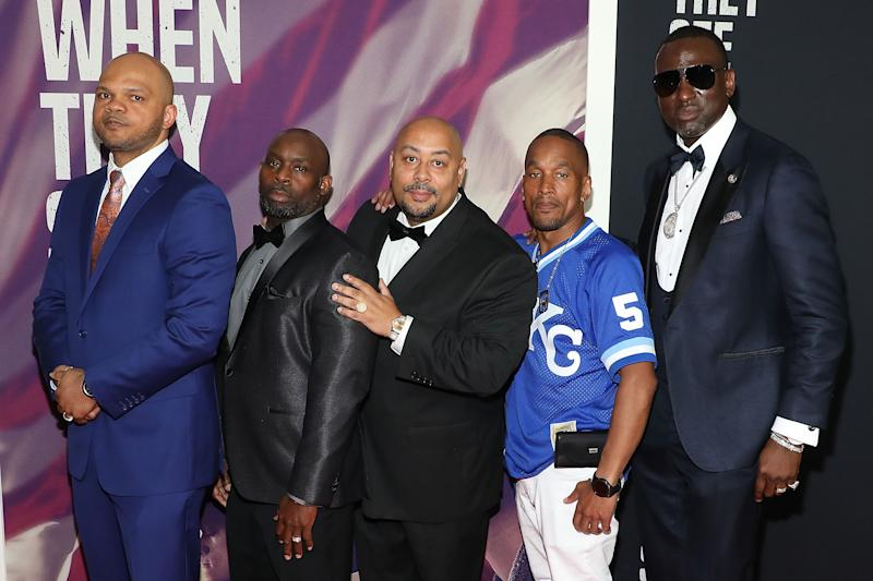 "NEW YORK, NY - MAY 20:(L-R) Kevin Richardson, Antron Mccray, Raymond Santana Jr., Korey Wise, and Yusef Salaam, collectively known as the ""Central Park Five"", attend the World Premiere of Netflix's ""When They See Us"" at the Apollo Theater on May 20, 2019 in New York City. (Photo by Taylor Hill/FilmMagic)"
