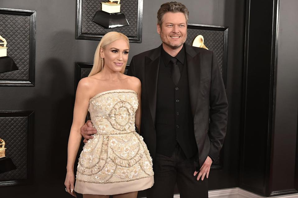 LOS ANGELES, CA - JANUARY 26: Gwen Stefani and Blake Shelton attend the 62nd Annual Grammy Awards at Staples Center on January 26, 2020 in Los Angeles, CA. (Photo by David Crotty/Patrick McMullan via Getty Images)
