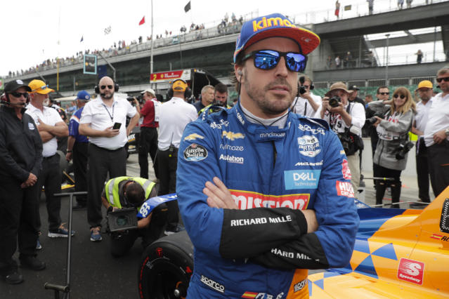 Fernando Alonso, of Spain, prepares to drive during qualifications for the Indianapolis 500 IndyCar auto race at Indianapolis Motor Speedway, Sunday, May 19, 2019 in Indianapolis. Alonzo failed to make the field for the race. (AP Photo/Michael Conroy)
