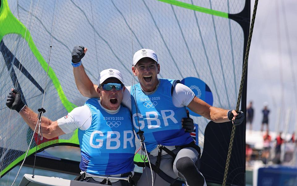 Dylan Fletcher and Stuart Bithell celebrate their thrilling gold medal victory - REUTERS
