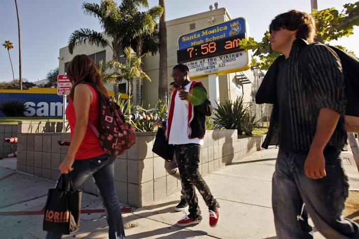Students arrive for a summer school session at Santa Monica High School in 2011.