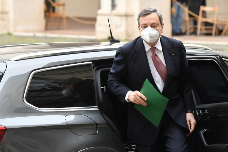 Mario Draghi arrives for the formal swearing-in ceremony of his government in Rome