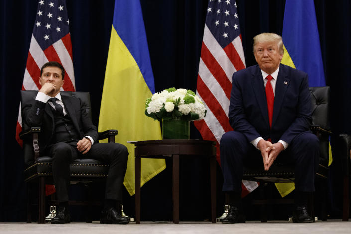 Donald Trump with Ukrainian President Volodymyr Zelensky last month in New York. (Photo: Evan Vucci/AP)