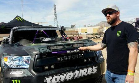 Desert racer BJ Baldwin stands in front of the Monster Energy Truck at the Mint 400 also known as the ÒGreat American Off-Road RaceÓ in Las Vegas