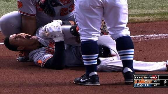 Manny Machado carted off the field on a stretcher after gruesome knee injury