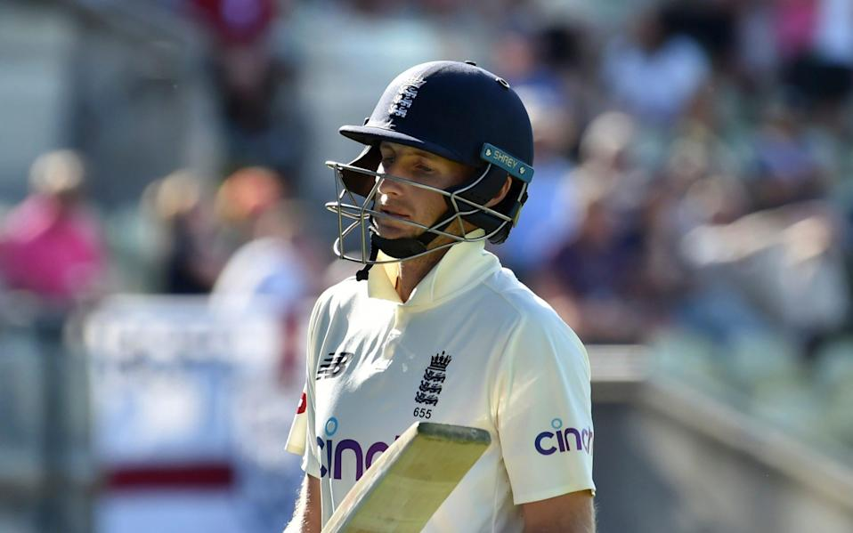 England captain Joe Root reacts as he walks off the field after losing his wicket during the third day of the second cricket test match between England and New Zealand at Edgbaston in Birmingham, - AP