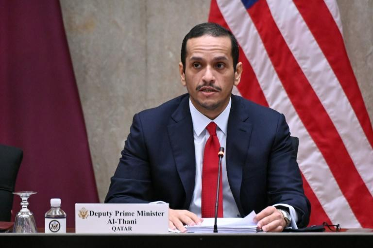 A file picture shows Qatari Foreign Minister Sheikh Mohammed bin Abdulrahman Al-Thani during a visit to Washington on September 14, 2020