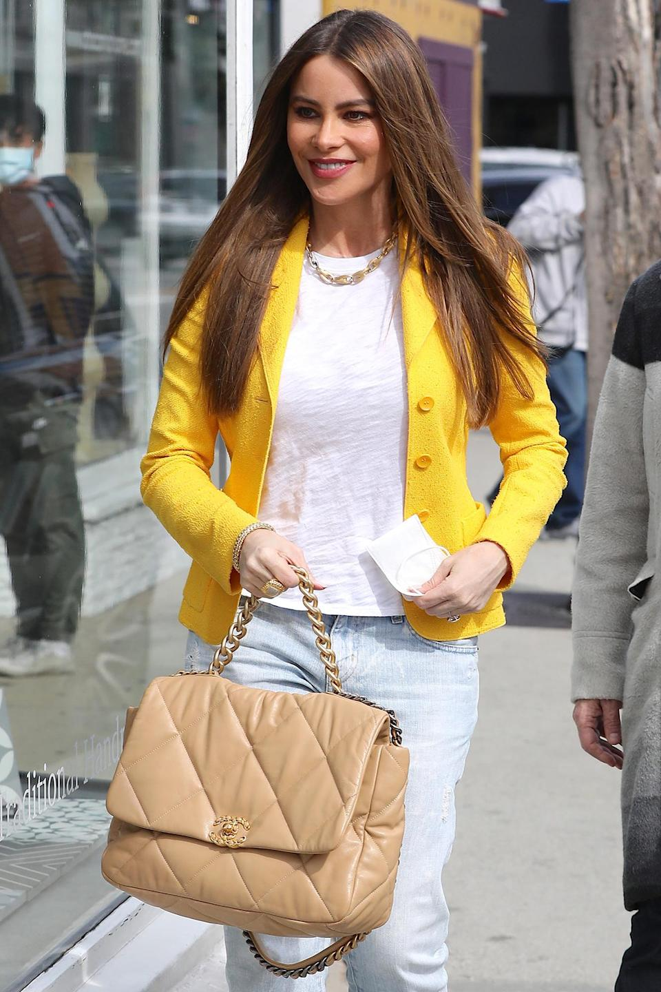 <p>Sofia Vergara stands out in a yellow blazer while out and about in Los Angeles over the weekend.</p>