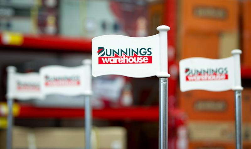 The Bunnings logo is displayed at one of their warehouse outlets in Sydney, Australia, on Thursday, Jul 28, 2011. Photographer: Ian Waldie/Bloomberg ***Local Caption***
