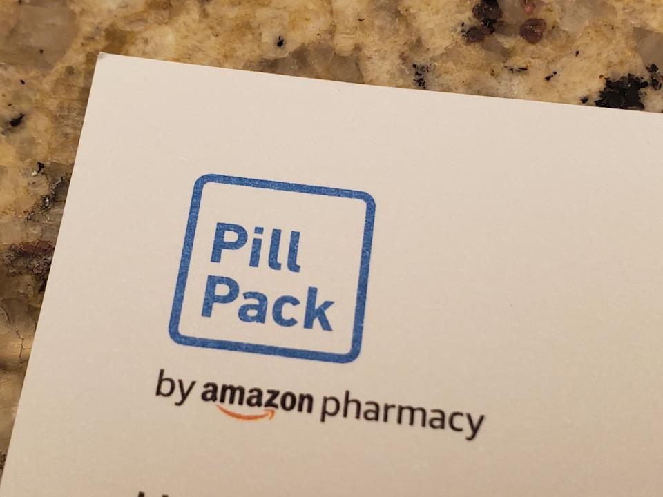 Close-up of logo for Pill Pack by Amazon Pharmacy on white paper, San Ramon, California, December 15, 2019. (Photo by Smith Collection/Gado/Getty Images)