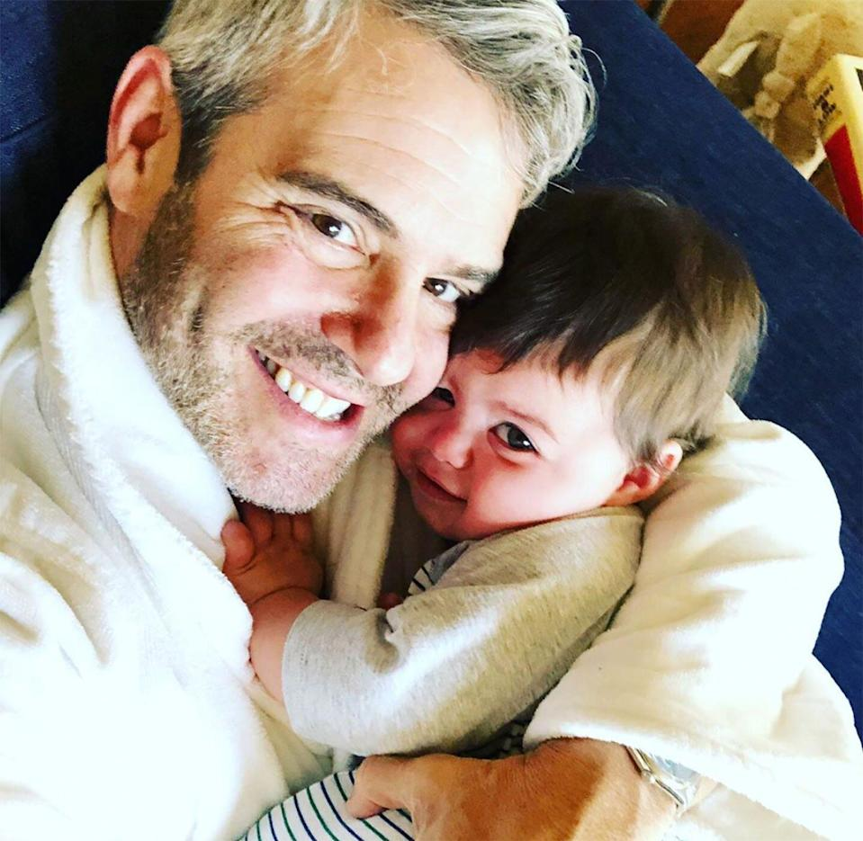 """The proud dad celebrated his son turning 8 months old with a cute father-son photo. """"8 months old today. Can't stop squeezing him,"""" he wrote."""