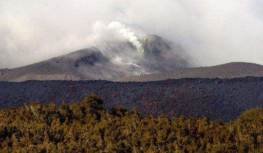 Steam gushes from the blackened slopes of Mount Tongariro at Rangipo in Tongariro National Park in August 2012. Mount Tongariro volcano erupted again on Wednesday, sending a column of ash high into the atmosphere, scientists said