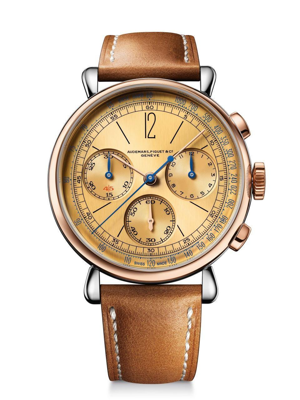 "<p>This new and improved version of the Re]master01 Selfwinding Chronograph, which was originally unveiled in 1943, is powered by the house's newest generation of self-winding chronograph mechanisms: an integrated chronograph with a column wheel and flyback function.<em>($53,100)</em></p><p><a class=""link rapid-noclick-resp"" href=""https://www.audemarspiguet.com/en/watch-collection/remaster/26595SR.OO.A032VE.01/#!/welcome"" rel=""nofollow noopener"" target=""_blank"" data-ylk=""slk:Learn More"">Learn More</a></p>"